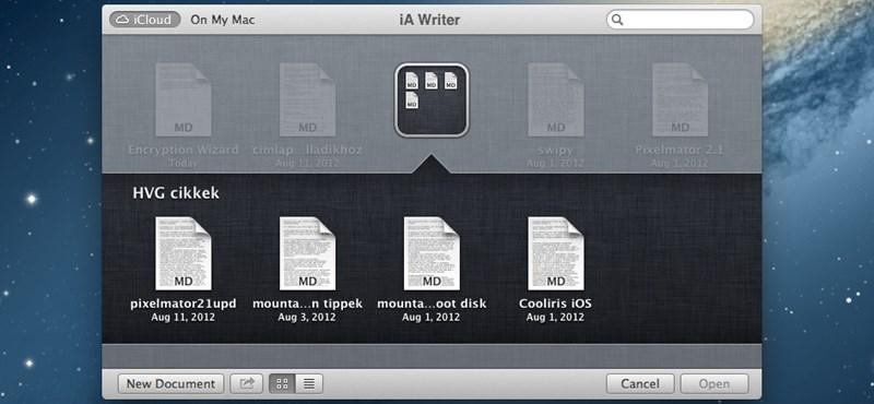 Dokumentumok csoportosítása az iCloudban, Mountain Lion alatt