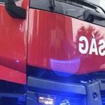 Megsérült négy tűzoltó Hajdúböszörménynél, mentőhelikopter a helyszínen