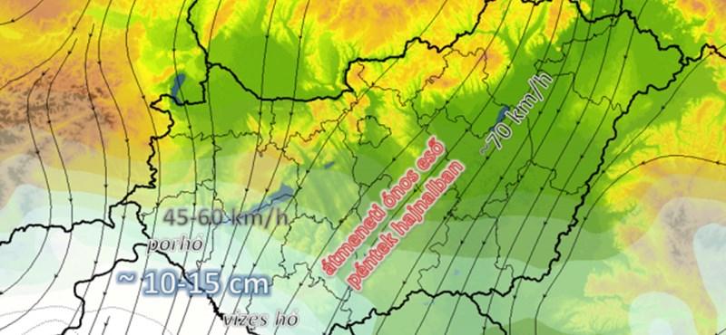 Sárga hó eshet holnap – térkép