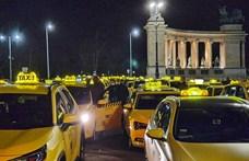 Látványos taxis demonstráció volt este Budapesten