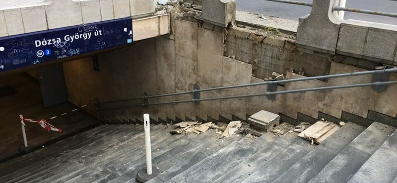 Kiderült, mitől omlott be a Dózsa György úti metrólejáró lépcsőjének fala
