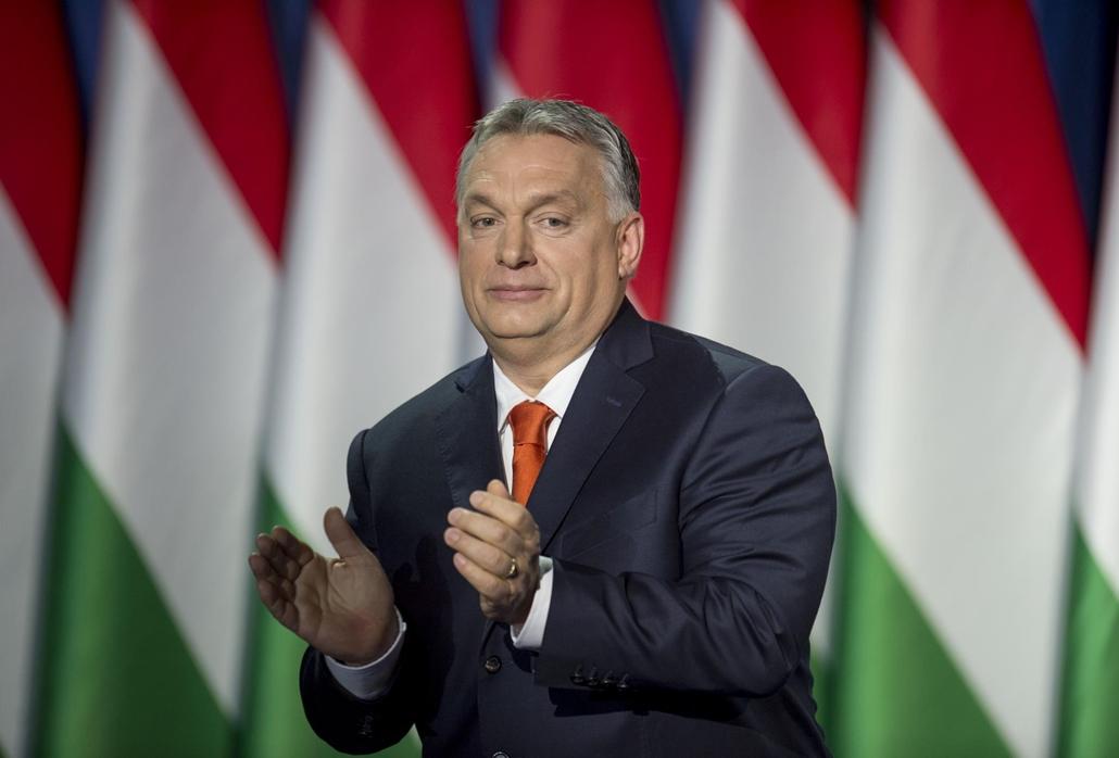 tg.18.02.18. Orbán Viktor miniszterelnök hagyományos évértékelő beszédét tartja a Várkert Bazárban 2018. február 18-án