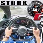 Ez a különbség, ha egy 610 lóerős Audi R8-cal vagy egy 1000 lóerőssel gyorsulunk – videó