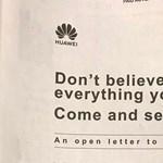 Visszavág a Huawei: egész oldalas hirdetésben hívták meg a cég központjába a teljes amerikai sajtót