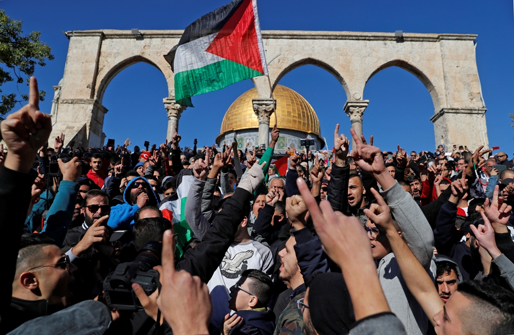 afp.17.12.08. - A pénteki imádság is tüntetésé változott a Sziklamecset előtt