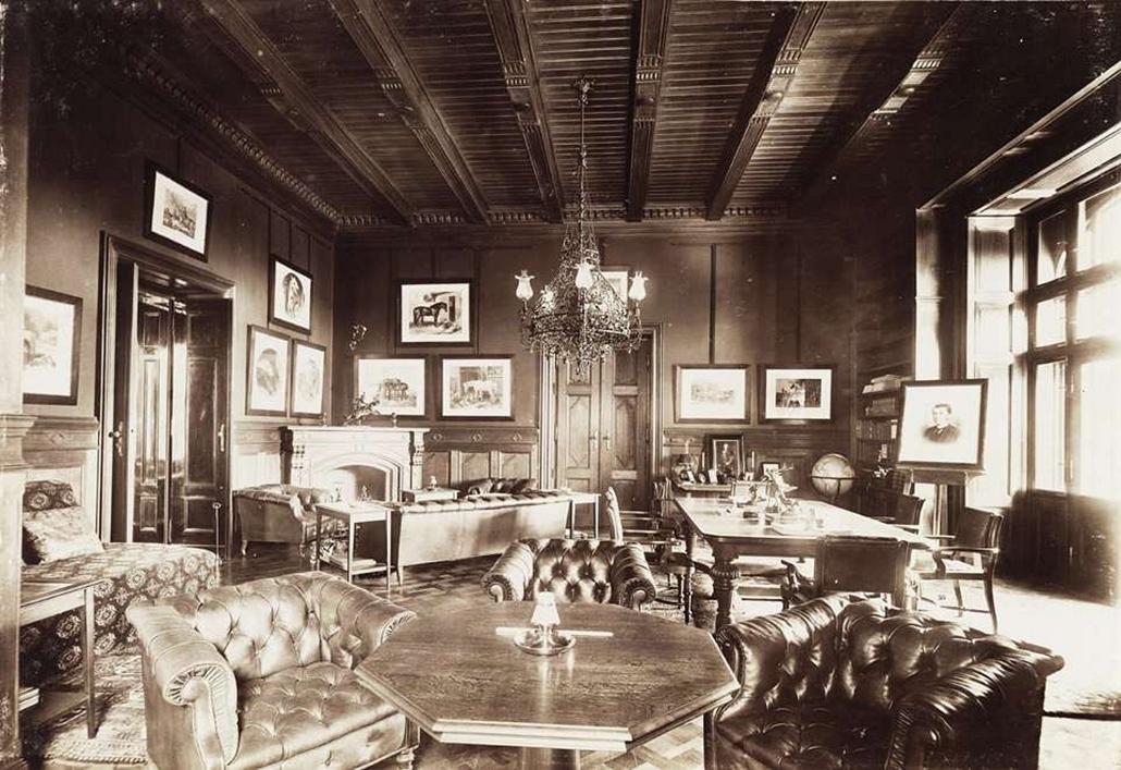 fortep_! - Klösz György kastély nagyítás - Az 1896-ban épült Károlyi-kastélyegyüttes Nagymágócson - dohányzó. A felvétel 1895-1899 között készült.