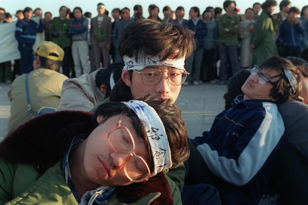 afp Tienanmen tér NAGYÍTÁS Éhségsztrájkoló diákok a Tienanmen téren 1989. május 14-én