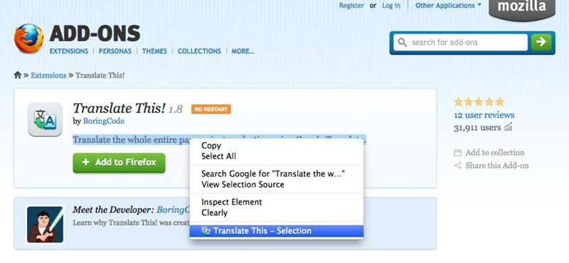 Fordítsunk le szövegeket egy kattintással a Firefoxban