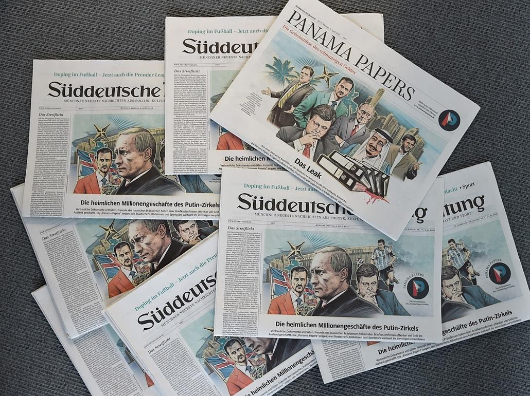 afp.16.04.07. - München, Németország: Német újságok címlapján a panamai offshore-botrány. - 7képei, évképei