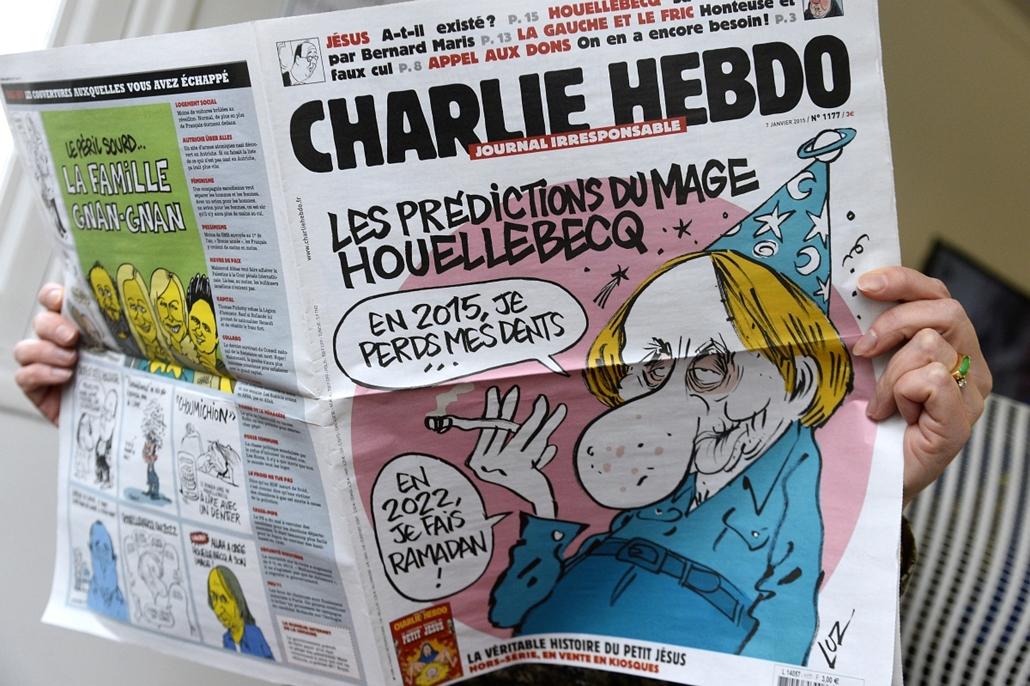 afp.15.01.07. - Párizs, Franciaország: a Charlie Hebdo legutóbbi számának címlapja - lövöldözés Párizsban