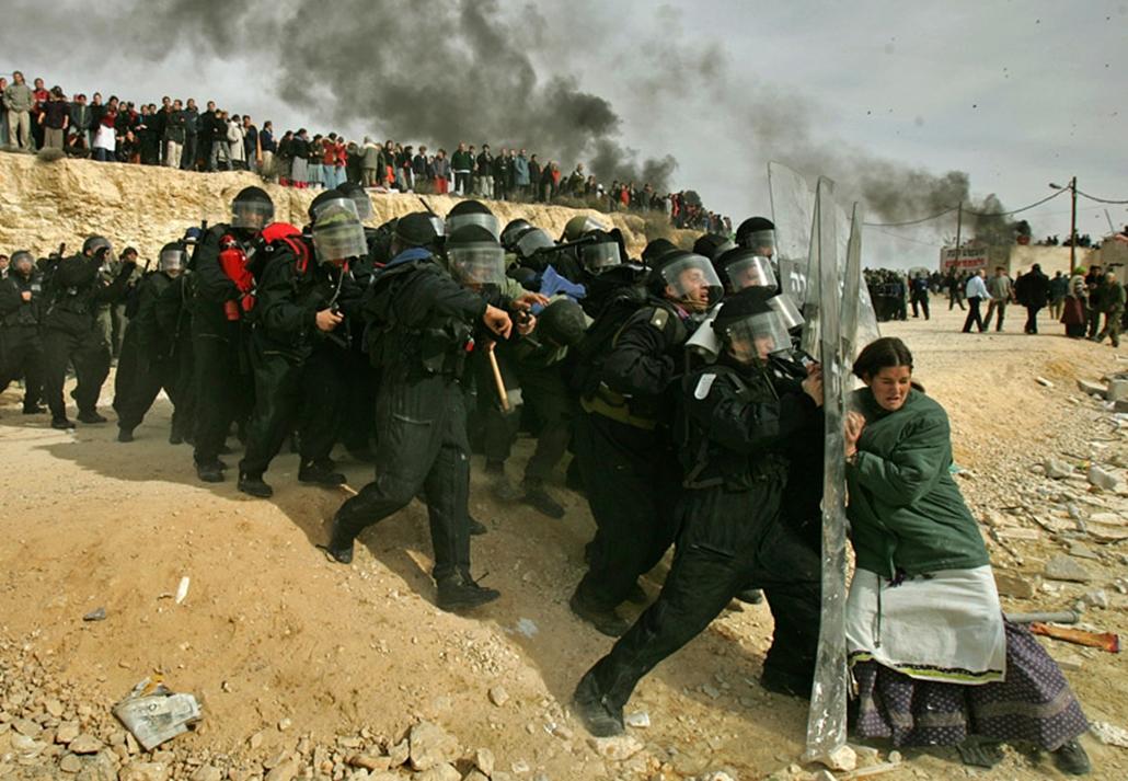 Zsidó telepes próbálja visszatartani a telepek felszámolását felügyelő izraeli rendőröket, miután az állam elrendelte a telepek felszámolását a Palesztinának átadandó területeken.