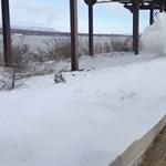 Egy érkező vonat durván beborította a peronon várakozó utasokat hóval