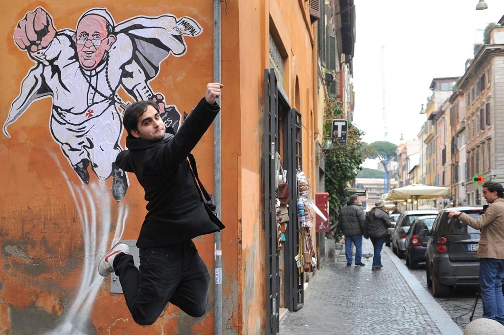 afp. hét képei - nagyítás - Róma, Olaszország, 2014.01.29. Ferenc pápa, superman