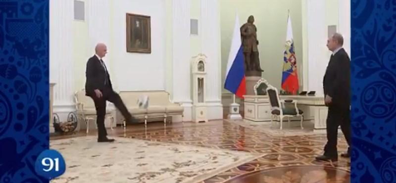 A focizó és fejelő Putyintól lett igazi a foci-vb visszaszámlálós videója