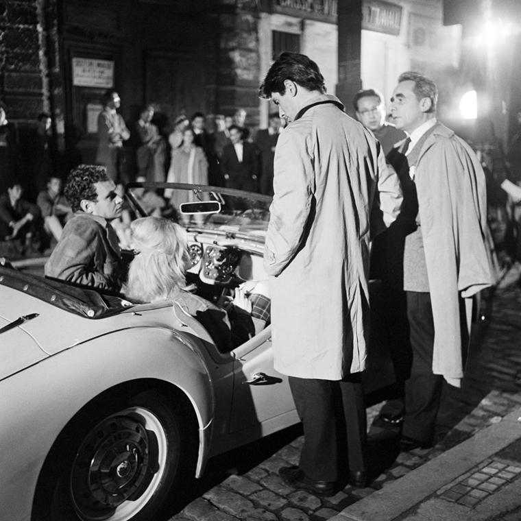 afp.1960.05.01. - Joinville, Franciaország: Sami Frey és Henri-Georges Clouzot oldalán a ''La vérité'' című filmben - Brigitte Bardot nagyítás